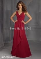 New 2015 Fashion V-Neck Spaghetti strap A-Line Floor Length Chiffon Bridesmaid Dresses