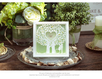 Hot New Green laser cut love tree convite casamento wedding invitation card with Wholesale Free Shipping 100 Pieces/Lot
