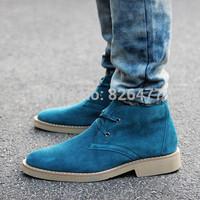 2014 high winter shoes men plus cotton casual shoes men male genuine leather martin boots mens warm comfortable lace up flat