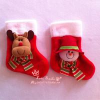 Christmas mini sock decoration cartoon 3d elk snowman Christmas stocking candy small gift bag