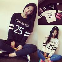 2014 autumn women's pullover top loose long-sleeve print plus size sweatshirt female baseball uniform DF-229