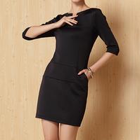 hotsale autumn women half sleeve stretch fabric  black color business dresses, luxury V-neck designer sexy dress F4028 2650