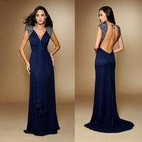 Wholesale Navy Blue Sweetheart Neckline Beaded Straps Backless Open Long Back Evening Party Dress Fashion Elegant  FSL-330