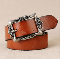 New arrival Retro fashion carved leather belt Women Fashion brand strap