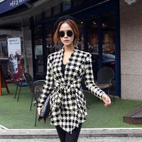 New Styles Korean Women Slim Woolen Jacket Coat Long Sleeve Houndstooth Pattern