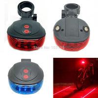 Free ship 100pcs/lot 5 LED 2 Red Laser Line Cycling Bicycle Bike Tail light Warning Lamp Flashing