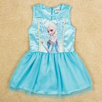 Top On Top wholesale  new 2014 Summer girl sleeveless dress Costume Princess Elsa Dress from Frozen Children clothen girls dress