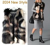 2014 New Arrival Original Women Piebald Fashional V-Neck Long Faux Fur Vest Sleeveless Style Outwear Gilet Black