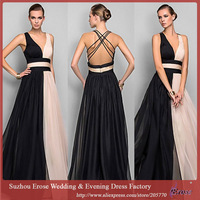 ADE-032 Chiffon Sexy Backless Deep V-Neck Elegant A-line 2014 Formal Evening Dresses Prom Party Gown Free Shipping