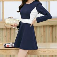 new arrival hotsale women fashion o-neck full sleeve dark blue autumn thick dress ,designer A-line patchwork dresses Nb33 7052