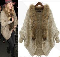 2014 new women European style  female cardigan sweater shawl cape coat loose knit sweater bat sleeve