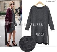 2014 new winter fat MM Slim thin long-sleeved round neck zipper dress 1311 #