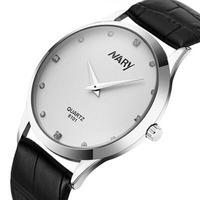 Brand Nary Fashion Clock Male Hours Leather Band Quartz Watch Rhinestone Men Slim Watch Wristwatch Relogio Masculino Best Gift