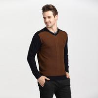 antumn/winter 2014 new business men's soild formal silm v neck knitted sweater 2color