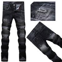 2014 Fashion Plaid black cat must patch the hole beggar Men Slim skull Straight Jeans