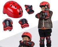 7pcs/Set Helmet Knee Elbow Wrist Protective Guard Pad Kid Skating Gear RED PINK BLUE