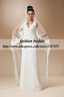 Free shipping 2014 new arrival soft tulle one layer cathedral long lace wedding veil