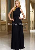 New Style 2014 Halter Fold Ruffle Sashes Chiffon Floor Length Bridesmaid Dresses