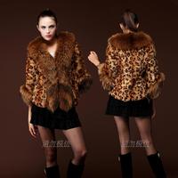 2014 new imitation fox fur coat stripe import short paragraph long section of the female leopard fur vest short Free Shipping