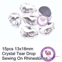 15pcs 13x18mm Machine Cut Tear Drop Crystal Clear Sewing On Rhinestones