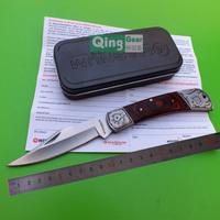 Classical pocket knife,440C folding blade,anti-silver bolster&pommel,wood handle W/ knife lanyard hole,iron box, free shipping