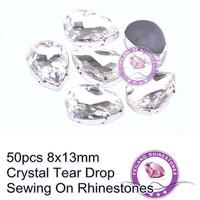 Sewing On Rhinestones With Silver Claw 50pcs 8x13mm Crystal Clear Tear Drop
