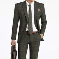 HOT!! Korea 100% High quality Brand Grid Slim Men suits Jacket + Pants groom wedding dress men's suit Jacket pants