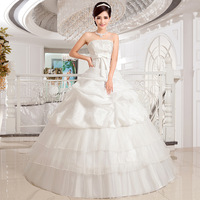 Hot new romantic princess white lace bowknot strapless gown with high quality to bind marriage gauze 2014 model