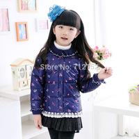 2014 child plum blossom slim down coat lolita style sweet down coat for girl children's female down coat girl cute basic down