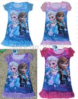 2015 New FROZEN Elsa Anna girls short sleeve pajamas nightgown sleepwear nightie dress children cartoon princess lace dresses