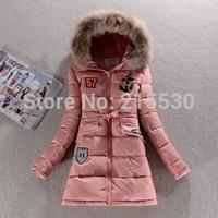 2014 new Korean winter women fashion  raccoon fur collar down jacket Girls Slim waist long thicken women cotton down coats