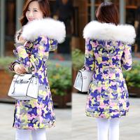 hot!2014 New Fashion Women's Winter Down Jacket Thickening Warm Coat Large Fur Collar Slim Camouflage Medium-Long Parka S-XXL