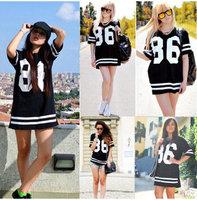 HOT 2014 Spring Summer Women Fashion 86 Number Print Long T Shirts Hip Hop USA American Baseball Plus Size Tee Pyrex T-shirt