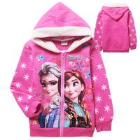 New Autumn winter girls Frozen warm outerwear kids lovely Princess printing coat children's leisure zipper jackets freeshipping