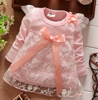 Retail 1pcs Spring Autumn Children Clothing Dress Girls baby mini lace beautiful Bow dress Free Shipping