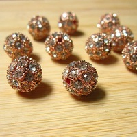 35PCS of 12mm  Rose Gold Round Shamballa Bead Pave Crystal Rhinestone Disco Ball Bracelet Findings, SD184 Free shipping