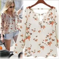 Women Shirt 2014 New Fashion camisetas Little Doves Print Chiffon blouse Ladies Fashion Shirts Women Clothing roupas femininas