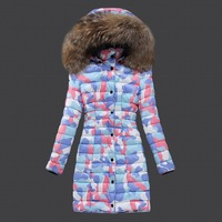 2014 New women ladies print duck down feather padded jacket coat coats outer wear parkas winter puffer