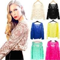 blusas femininas Women Blouses ladies blouses Lace Embroidery Shirt Women blusa renda de manga comprida plus size S-XXL kimono