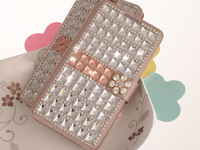 For N3 N9000 Luxury Rhinestone Wallet Color Block Leather Bling glass Diamond Cover Case  For Samsung Galaxy note 3 K002