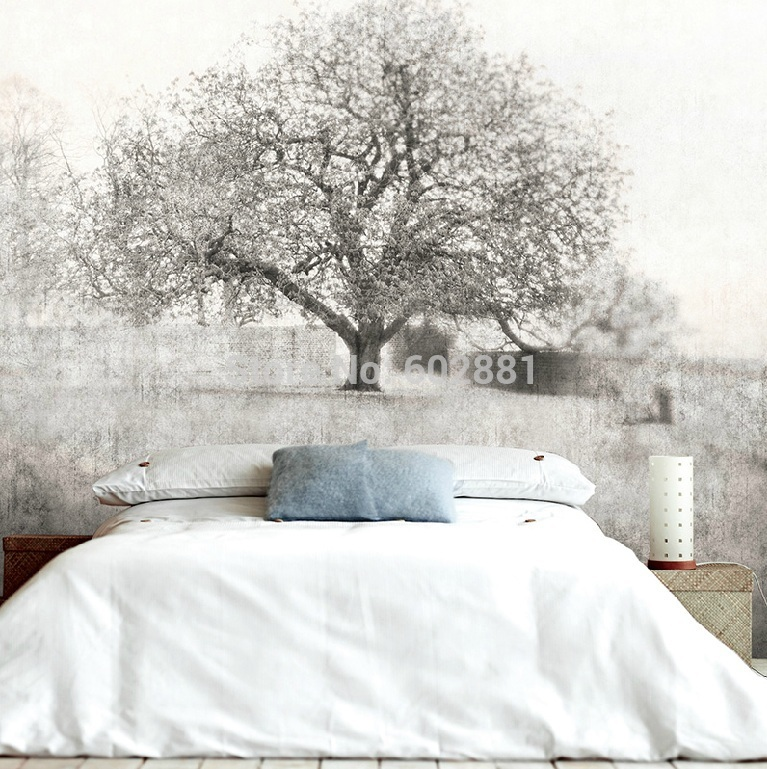Black white tree wallpaper wall decal art views wall mural for Black and white tree wallpaper mural