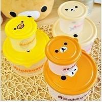 Hot cute cartoon Rilakkuma lunchbox lunch box storage box 2 in 1 plastic box 3 colors free shipping A831