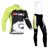 Free shipping! SIDI Castelli 2014 Winter long sleeve clothes cycling jersey+bib pants bike bicycle thermal fleeced wear set
