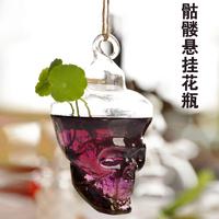 Free shippingmxmade skull hanging transparent glass vase flower vase hydroponic creative home decorations