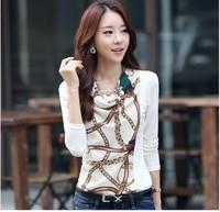 Tops 2014 New Fashion Women's Clothing Slim Print Blouse Women Long Sleeve T shirt Plus Big Size