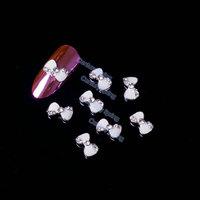 5pcs/pack 3D White Bow Tie Alloy Rhinestones Nail Art Decorations DIY