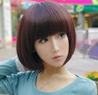 2014 New Fashion Girls Neat bang with short hair repair face wig fake headgear hairstyle human hair bob wigs Free Shipping