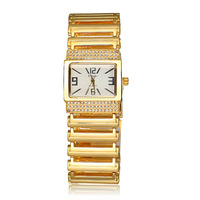 Brand Design Stylish Luxury Rhinestone Wristwatches Stainless Steel Watches Waterproof  Metal Dress Quartz Watch For Women