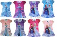 Frozen dress Girl Elsa Anna clothes new frozen nightgown summer Girls sleepwear,kids pajamas dresses