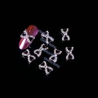 5pcs/pack 3D Black Bow Tie Alloy Rhinestones Nail Art Decorations DIY